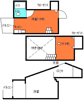 ロフト付アパート天井が高い